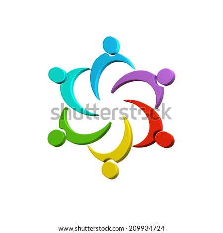 3D Teamwork colorful connected business people image design - stock photo