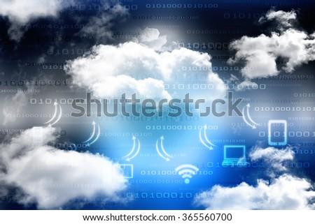 2d technology cloud network - stock photo