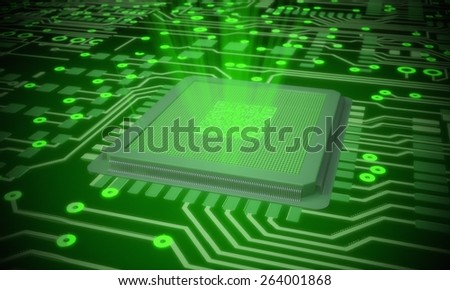 3D. Technology, Computer Chip, Circuit Board.