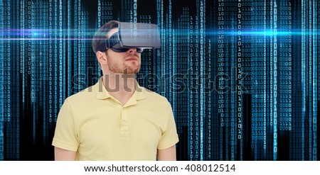 3d technology, virtual reality, entertainment and people concept - young man with virtual reality headset or 3d glasses over binary system code background - stock photo