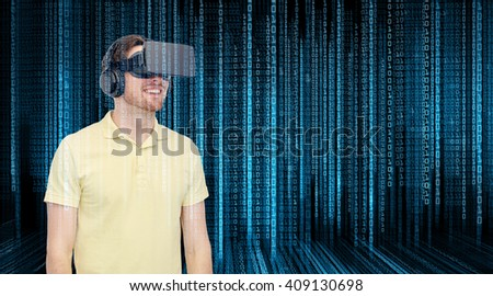 3d technology, virtual reality, programming, entertainment and people concept - happy young man with virtual reality headset or 3d glasses over blue binary code numbers and black background - stock photo