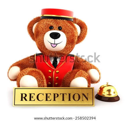3d teddy bear bellboy, isolated white background, 3d image - stock photo
