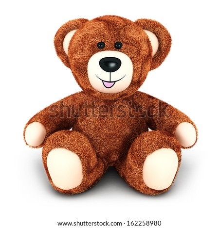3d teddy bear, isolated white background, 3d image - stock photo