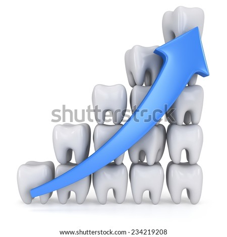 3d teeth bar graph with blue arrow isolated on white background. Render. Dental medicine health grow chart business statistic concept. - stock photo
