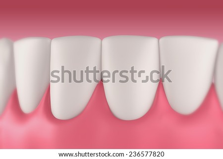 3D teeth or tooth front view, closeup illustration - stock photo