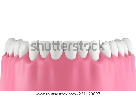 3D teeth or tooth illustration,front view isolated