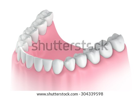 3D teeth or tooth illustration, perspective view in mouth - stock photo
