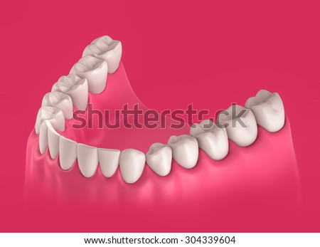3D teeth or tooth illustration, perspective view in mouth