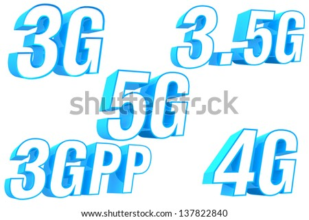 3D Telecom Icon collection 3G 3.5G 3GPP 4G and 5G - stock photo