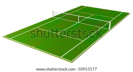 3d tennis field isolated on white background