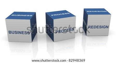 3d text cubes of BPR - Business process redesign - stock photo