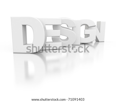 3d text DESIGN isolated on white background