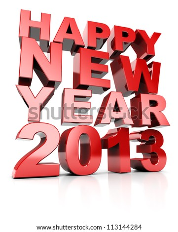 3d text happy new year 2013 isolated on white background - stock photo