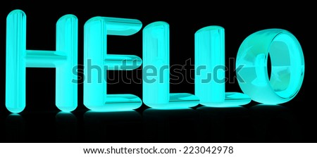 "3d text ""hello"" on a black background - stock photo"