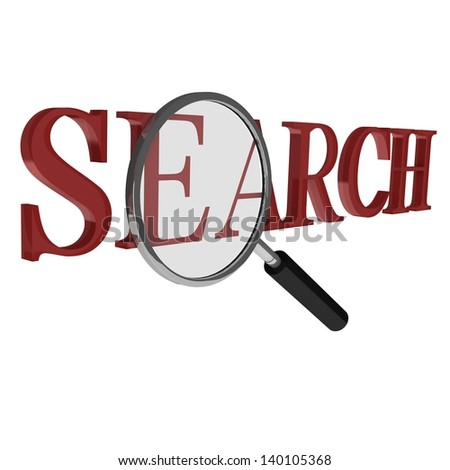3D Text Illustration Featuring the Word Search with Magnifying glass