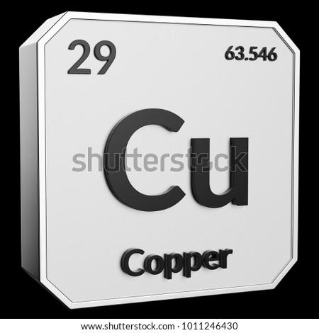 3 D Text Chemical Element Copper Atomic Stock Illustration