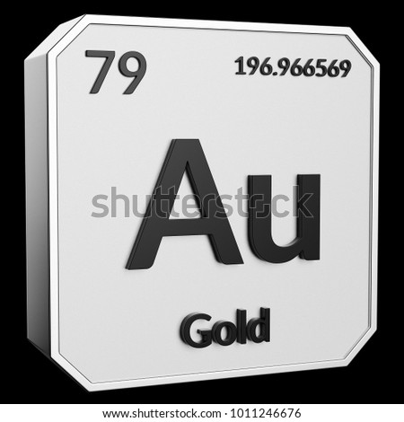 3 D Text Chemical Element Gold Atomic Stock Illustration 1011246676