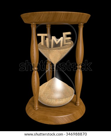 3D text of the word time in an hourglass with trickling sand - stock photo