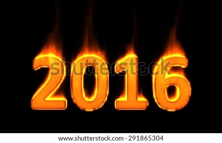 """""""2016"""" 3d text on fire - stock photo"""