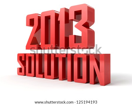 3D text 2013 solution on white background