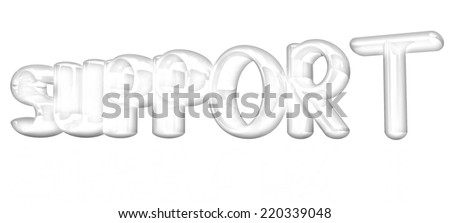 "3d text ""support"" on a white background. Pencil drawing  - stock photo"
