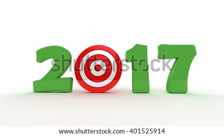2017 3D text with a target red - stock photo