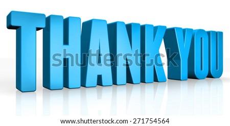 3D thank you text on white background - stock photo