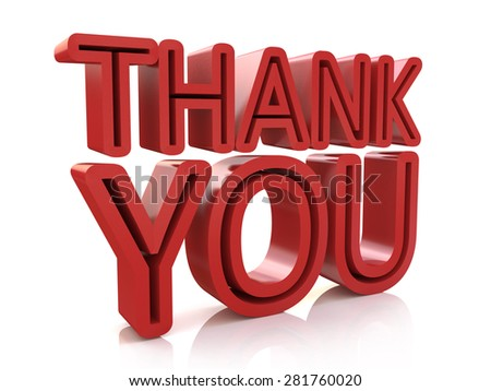 3D Thank You Word  - stock photo