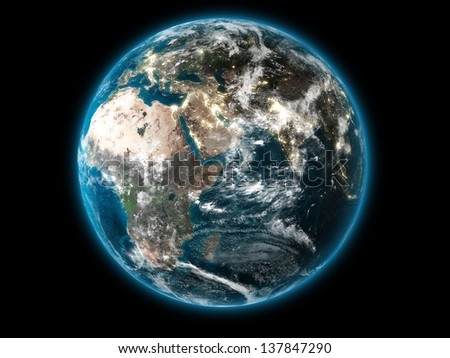 3D The Earth displaying the African continent (Collage images from www.nasa.gov) - stock photo