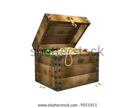 3d the wooden box, filled with gold coins