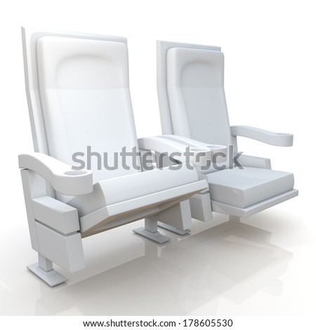 3d theater seats in isolated background with clipping paths, work paths  - stock photo