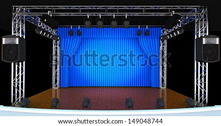 3d Theater stage with blue curtains and spotlights. Theatrical scene in the light of searchlights, the interior of the old theater - stock photo