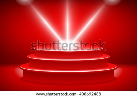 3d theatrical background. scene and red curtains. red podium on a background of red drape curtains. art - stock photo