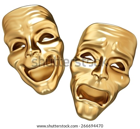 3D. Theatrical Performance, Stage Theater, Theater Mask. - stock photo