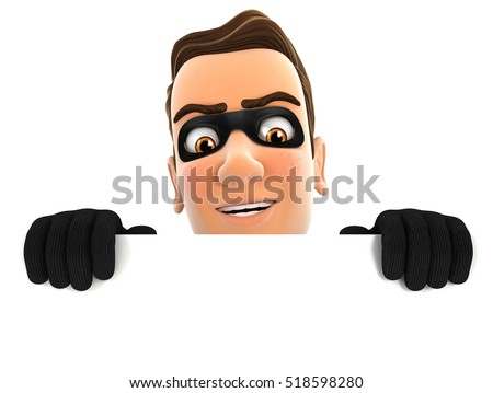 3d thief hiding behind white wall, illustration with isolated white background