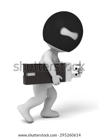 3d thief stealing u-disk. 3d image. Isolated white background.