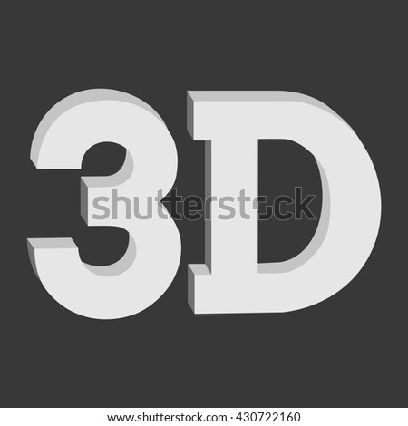 3D three-dimensional button sign in solid grayscale colors icon on black background. illustration.