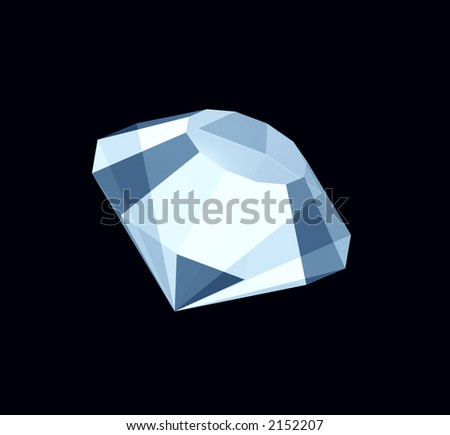 3D three-dimensional model of a brilliant or diamond separately from a background