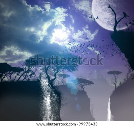 3d three-dimensional nature, forest, waterfall, lake, in the evening