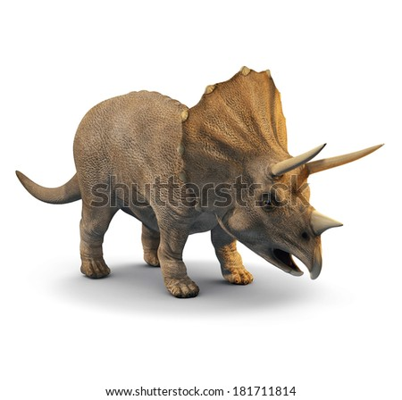3d three quarter view of a triceratops - stock photo