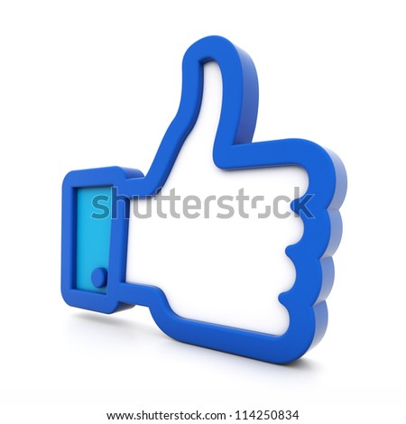 3d thumbs up isolated on white background - stock photo