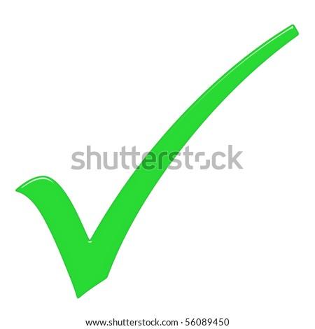 3d tick sign - stock photo