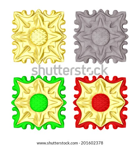 3d tile, set stucco elements on a white background - stock photo