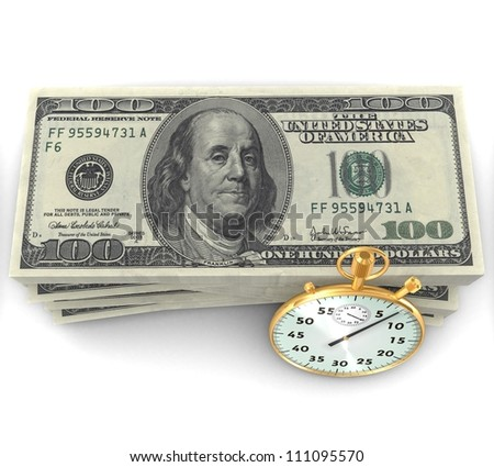 3d Time is money - stock photo