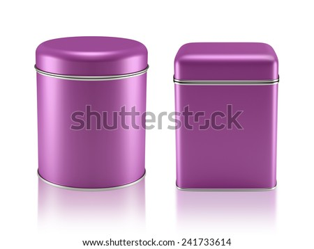 3D Tin Can fuchsia color product package type cylinder and square form design, object isolated - stock photo