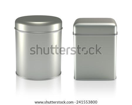 3D Tin Can silver color product package type cylinder and square form design, object isolated