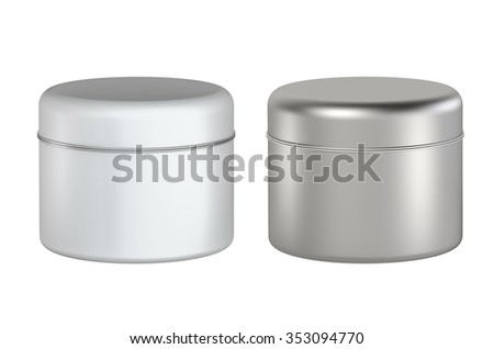 3D Tin Can White color and Silver package type cylinder design, object isolated - stock photo