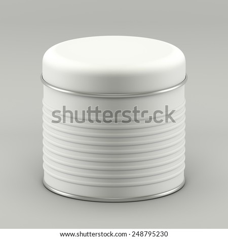 3D Tin Can white color pinstripe product package type cylinder design - stock photo