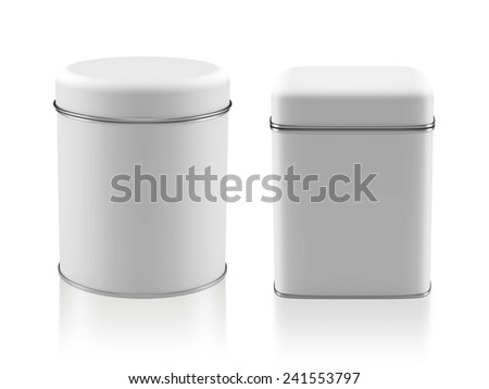 3D Tin Can white color product package type cylinder and square form design, object isolated