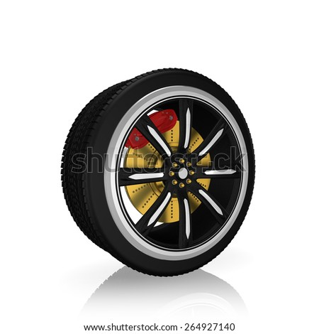 3d tire and alloy wheel, on white background - stock photo